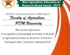 PDMU bags Best Agriculture Education & Research Brand Award 2019