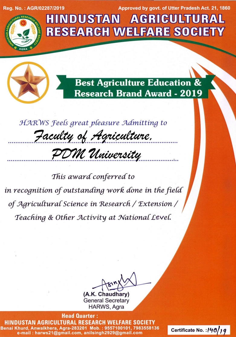 PDM University bags Best Agriculture & Research Brand Award 2019