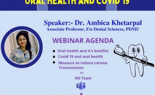Webinar on Oral Health & Covid-19